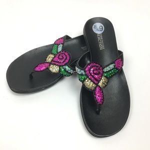Kenneth Cole Reaction Sequin Flip Flop Sandals